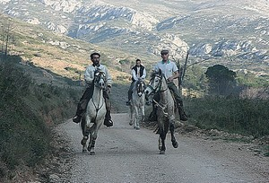 Riding a horse through the Montgrí Mountains, near Santa Caterina